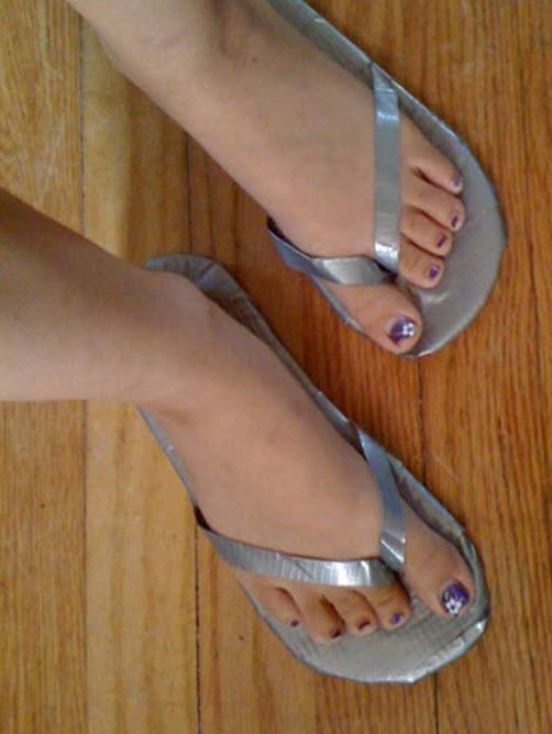 Duct tape sandals