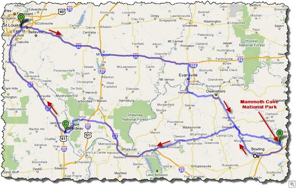 Mammoth cave route