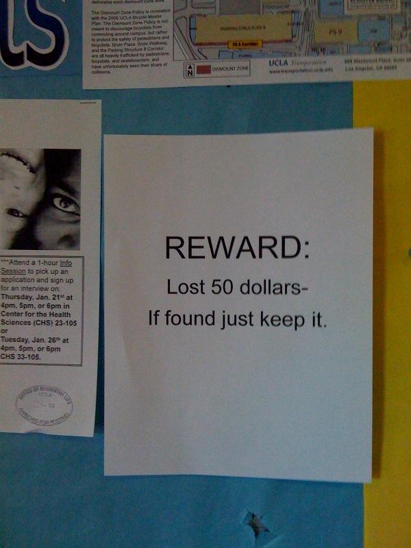 Reward lost 50