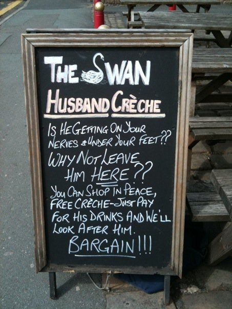 Pub for husband while u shop
