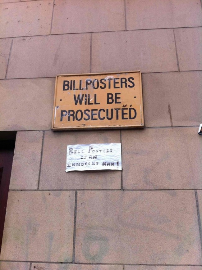 Bill posters in innocent