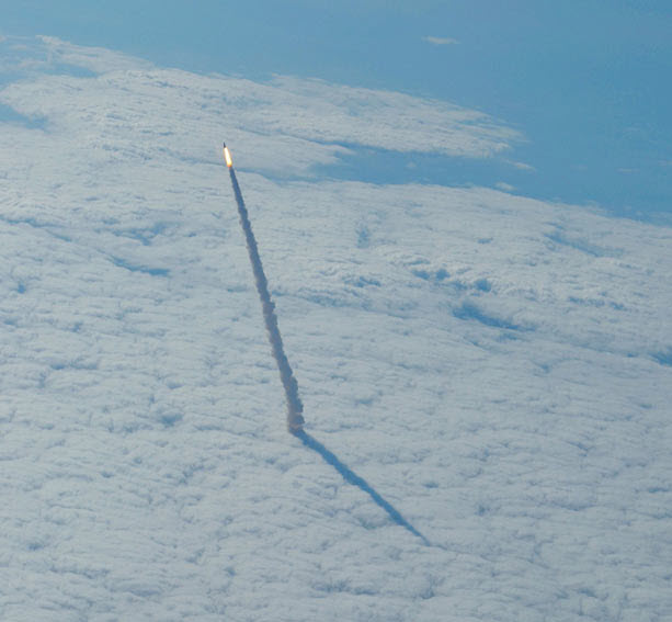 Space shuttle breaks thru