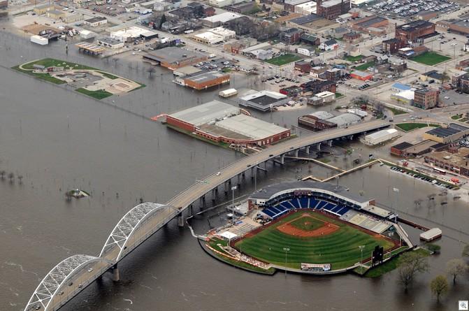 Stadium in flood