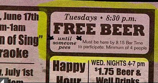 Free beer until