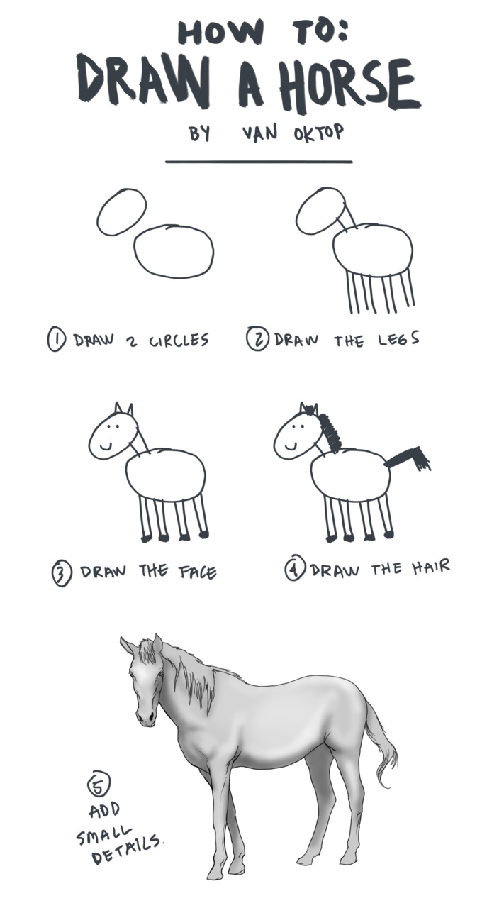 Stepbystep Cartoon Art Drawing Tutorial For How How To Draw A Horse  Add Small Details Solution For How To For