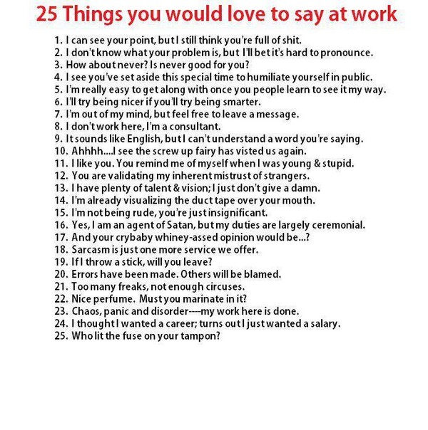 Things to say at work