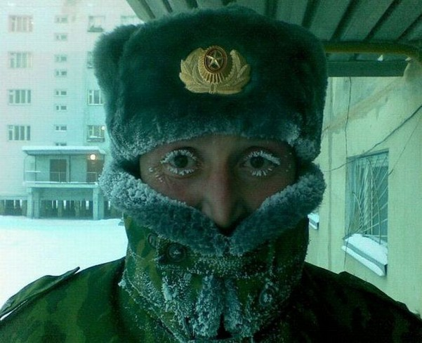 Frozen eyelashes in Russia