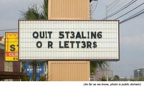 Quit stealing our letters