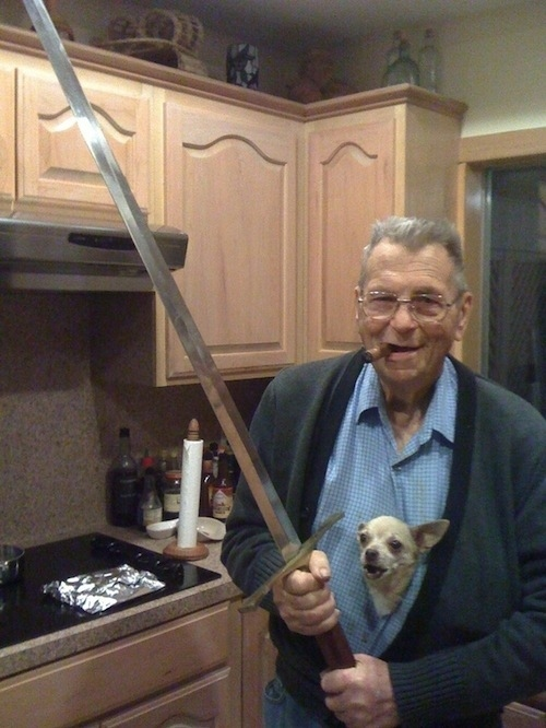 Man sword dog