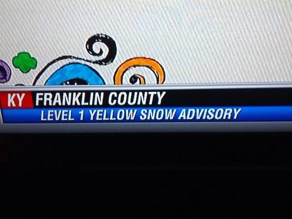 Yellow snow advisory