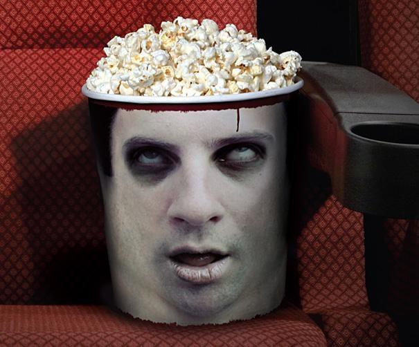 Popcorn bucket for horror films